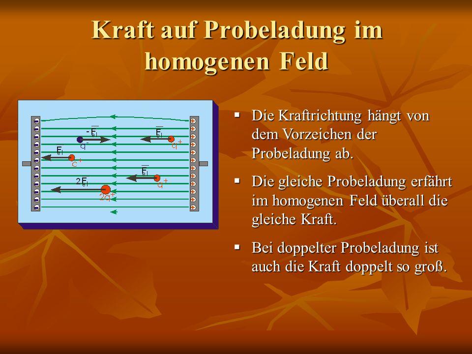 Kraft auf Probeladung im homogenen Feld Die Kraftrichtung hängt von dem Vorzeichen der Probeladung ab. Die Kraftrichtung hängt von dem Vorzeichen der