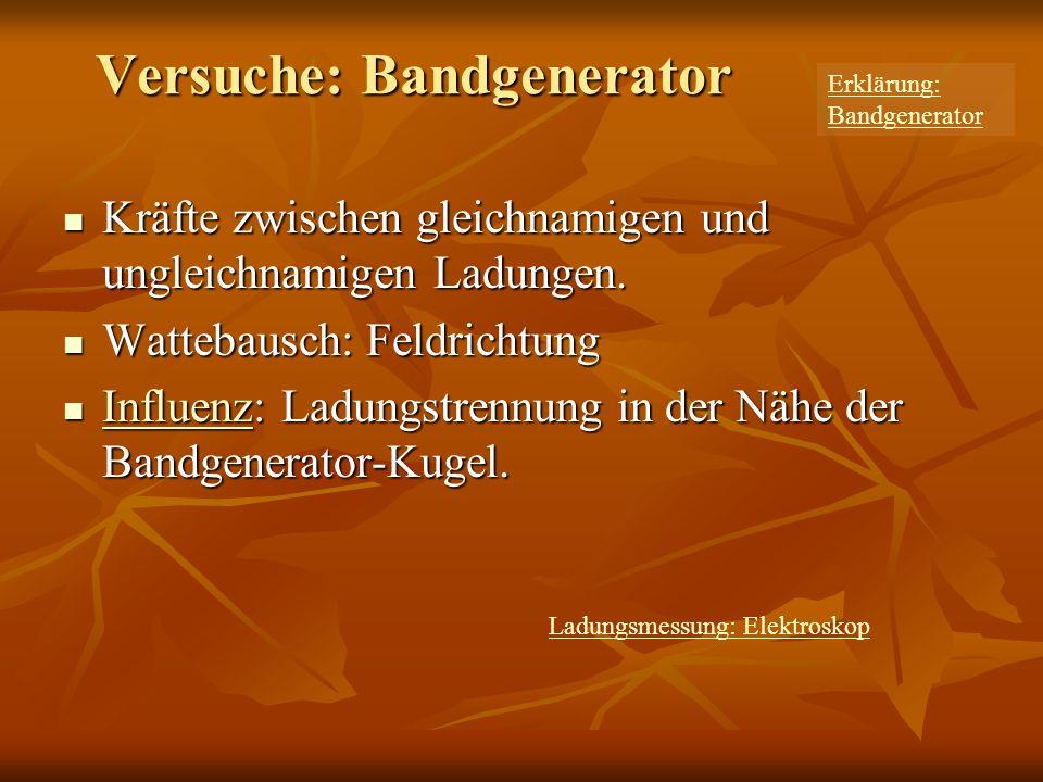 Versuche: Bandgenerator Kräfte zwischen gleichnamigen und ungleichnamigen Ladungen.