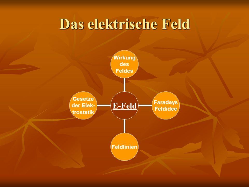 Das elektrische Feld E- Feld Wirkung des Feldes Faradays Feldidee Feldlinien Gesetze der Elek- trostatik Kraft im homogen Feld