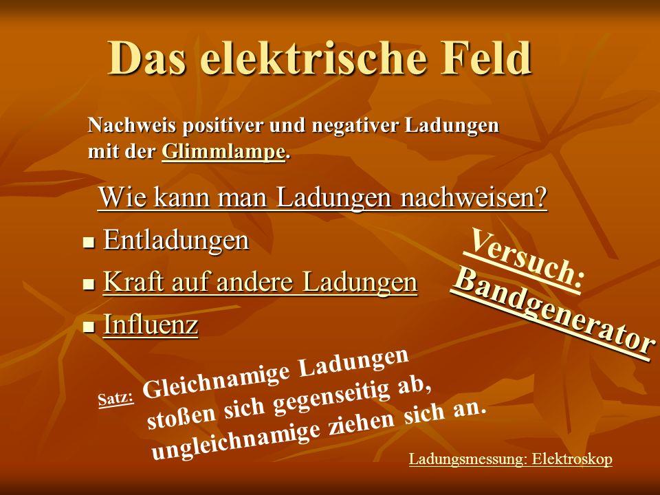 Das elektrische Feld Definition des elektrischen Feldes: Satz: Satz: Der Quotient aus elektr.