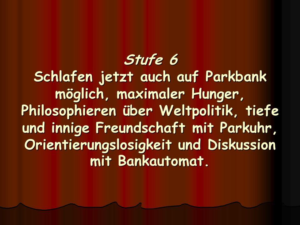 Stufe 6 Schlafen jetzt auch auf Parkbank möglich, maximaler Hunger, Philosophieren über Weltpolitik, tiefe und innige Freundschaft mit Parkuhr, Orient