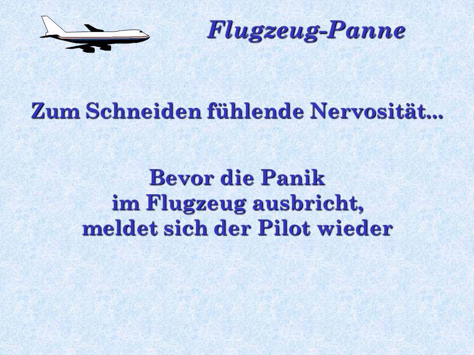 Flugzeug-Panne Auch die Flugbegleitung kann nichts sagen, da sie seltsamerweise nicht ins Cockpit kommen können
