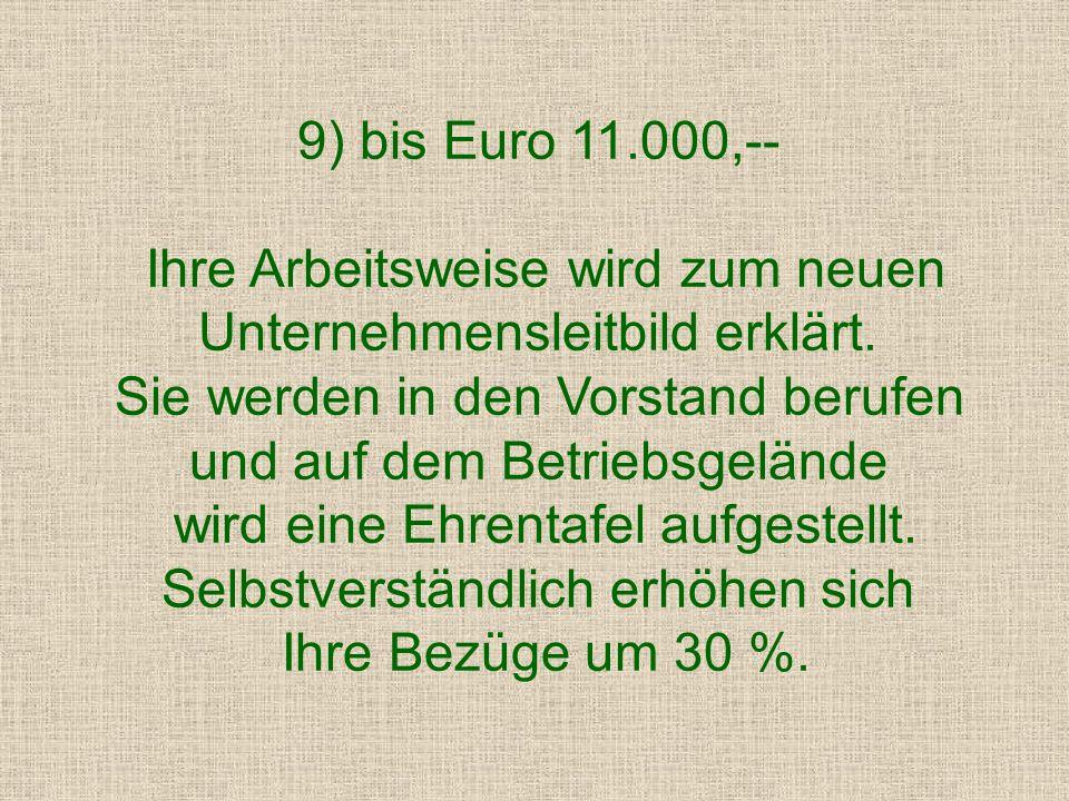 bis Euro 5.000,-- Anerkennung wegen unkonventioneller Arbeitsweise und dem Erkennen neuartiger Perspektiven.