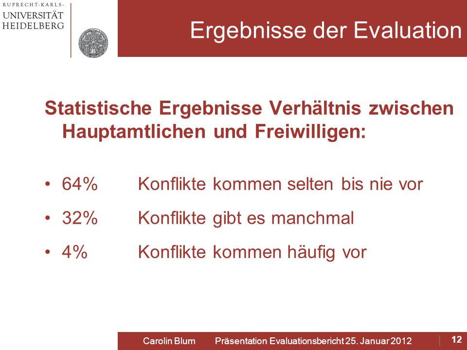 Ergebnisse der Evaluation Statistische Ergebnisse Verhältnis zwischen Hauptamtlichen und Freiwilligen: 64% Konflikte kommen selten bis nie vor 32% Kon