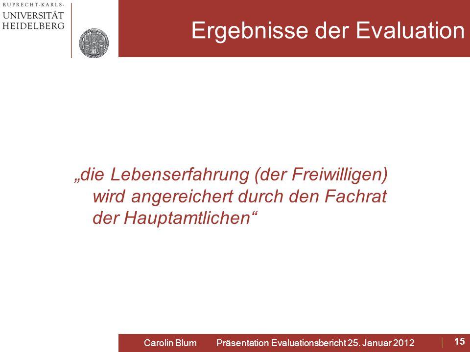Ergebnisse der Evaluation die Lebenserfahrung (der Freiwilligen) wird angereichert durch den Fachrat der Hauptamtlichen Carolin Blum Präsentation Eval
