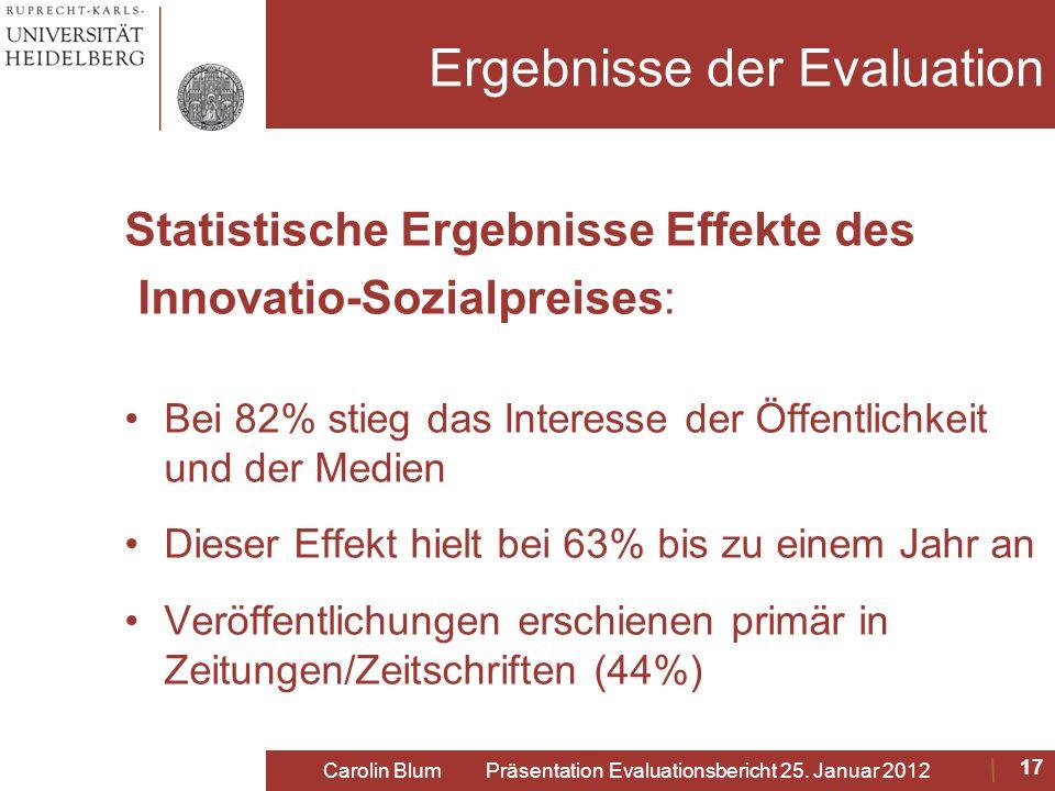 Ergebnisse der Evaluation Statistische Ergebnisse Effekte des Innovatio-Sozialpreises: Bei 82% stieg das Interesse der Öffentlichkeit und der Medien D