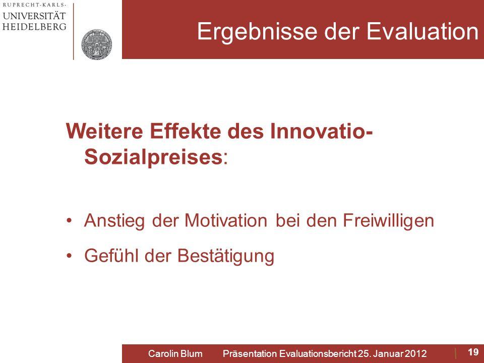 Ergebnisse der Evaluation Weitere Effekte des Innovatio- Sozialpreises: Anstieg der Motivation bei den Freiwilligen Gefühl der Bestätigung 19 Carolin