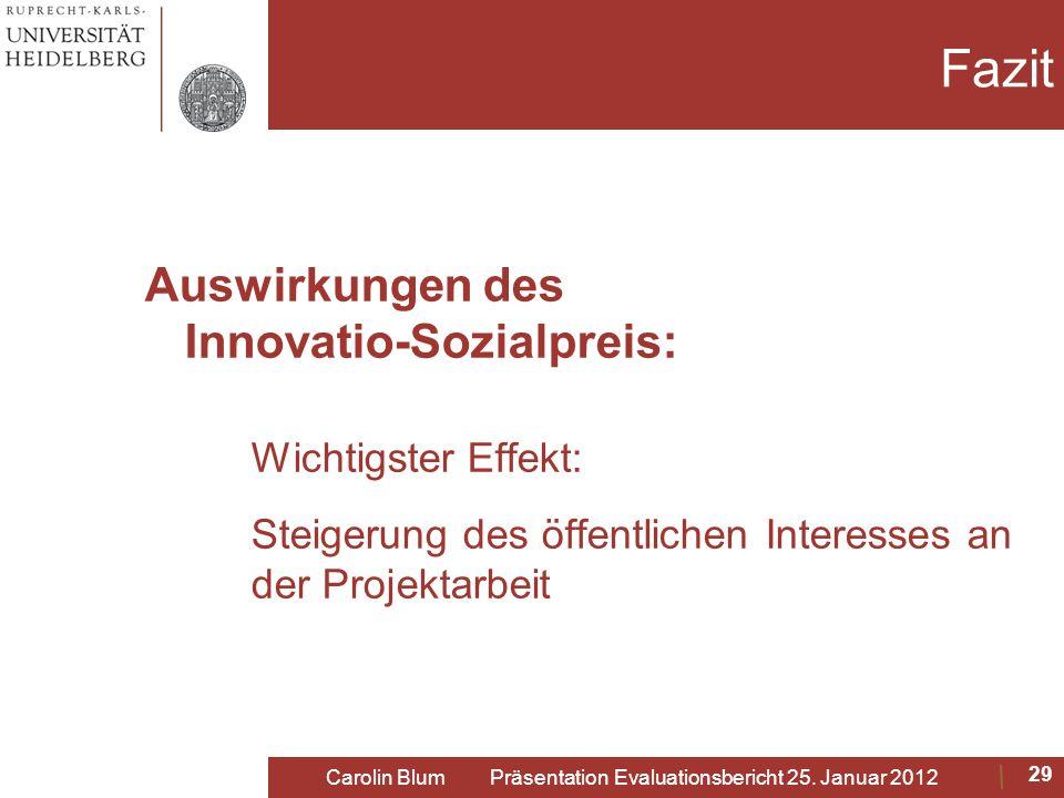 Fazit Auswirkungen des Innovatio-Sozialpreis: Wichtigster Effekt: Steigerung des öffentlichen Interesses an der Projektarbeit Carolin Blum Präsentatio