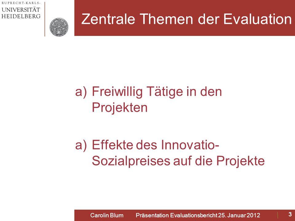 Zentrale Themen der Evaluation a)Freiwillig Tätige in den Projekten a)Effekte des Innovatio- Sozialpreises auf die Projekte 3 Carolin Blum Präsentatio