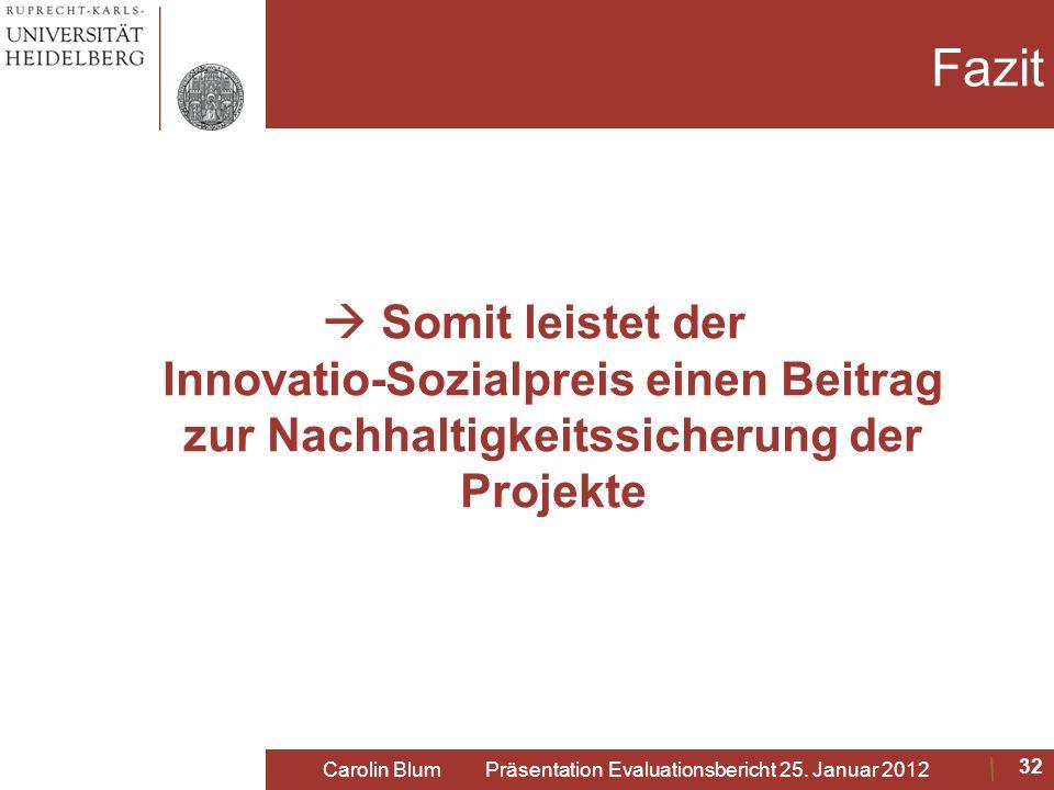 Fazit Somit leistet der Innovatio-Sozialpreis einen Beitrag zur Nachhaltigkeitssicherung der Projekte Carolin Blum Präsentation Evaluationsbericht 25.