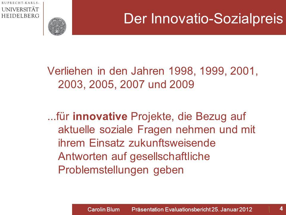 Der Innovatio-Sozialpreis Verliehen in den Jahren 1998, 1999, 2001, 2003, 2005, 2007 und 2009...für innovative Projekte, die Bezug auf aktuelle sozial