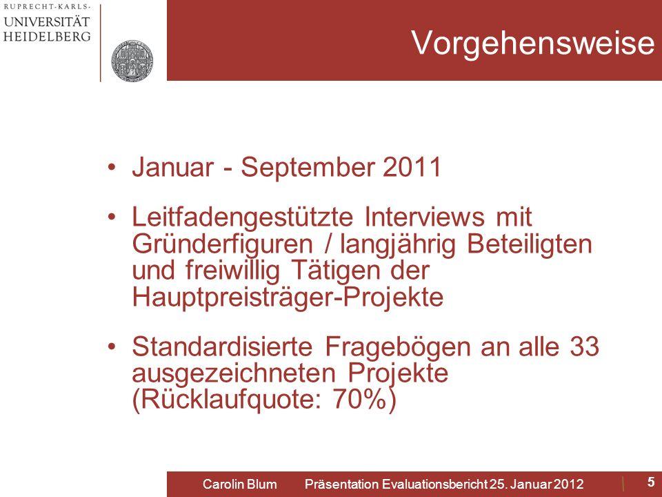 Vorgehensweise Januar - September 2011 Leitfadengestützte Interviews mit Gründerfiguren / langjährig Beteiligten und freiwillig Tätigen der Hauptpreis