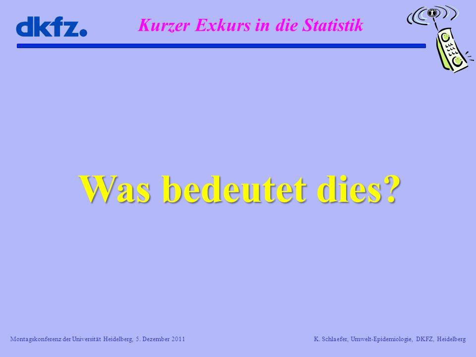 Montagskonferenz der Universität Heidelberg, 5. Dezember 2011K. Schlaefer, Umwelt-Epidemiologie, DKFZ, Heidelberg Kurzer Exkurs in die Statistik Was b