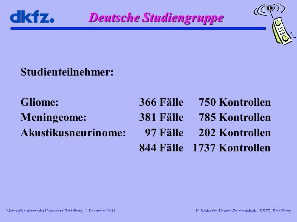 Montagskonferenz der Universität Heidelberg, 5. Dezember 2011K. Schlaefer, Umwelt-Epidemiologie, DKFZ, Heidelberg Studienteilnehmer: Gliome: 366 Fälle