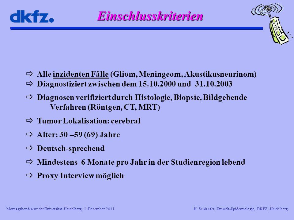 Montagskonferenz der Universität Heidelberg, 5. Dezember 2011K. Schlaefer, Umwelt-Epidemiologie, DKFZ, Heidelberg Alle inzidenten Fälle (Gliom, Mening