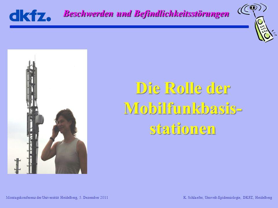 Montagskonferenz der Universität Heidelberg, 5. Dezember 2011K. Schlaefer, Umwelt-Epidemiologie, DKFZ, Heidelberg Die Rolle der Mobilfunkbasis- statio