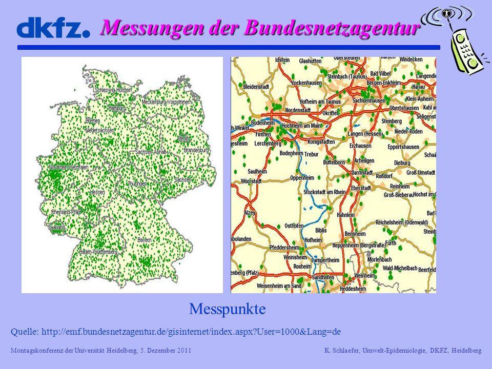 Montagskonferenz der Universität Heidelberg, 5. Dezember 2011K. Schlaefer, Umwelt-Epidemiologie, DKFZ, Heidelberg Messungen der Bundesnetzagentur Quel