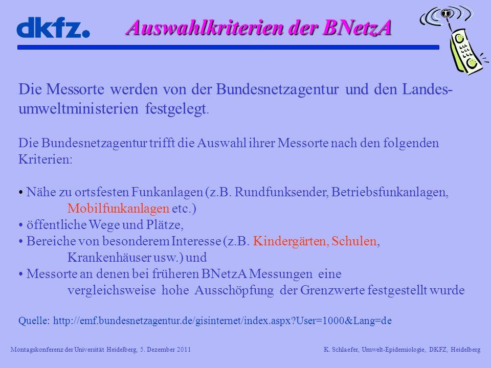 Montagskonferenz der Universität Heidelberg, 5. Dezember 2011K. Schlaefer, Umwelt-Epidemiologie, DKFZ, Heidelberg Auswahlkriterien der BNetzA Die Mess