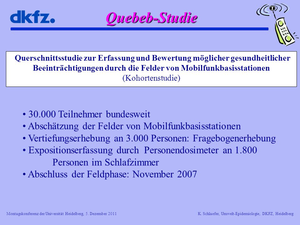 Montagskonferenz der Universität Heidelberg, 5. Dezember 2011K. Schlaefer, Umwelt-Epidemiologie, DKFZ, Heidelberg Querschnittsstudie zur Erfassung und