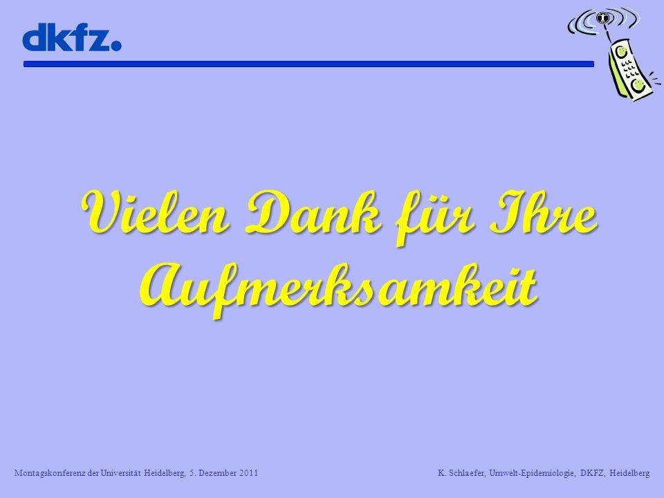 Montagskonferenz der Universität Heidelberg, 5. Dezember 2011K. Schlaefer, Umwelt-Epidemiologie, DKFZ, Heidelberg Vielen Dank für Ihre Aufmerksamkeit