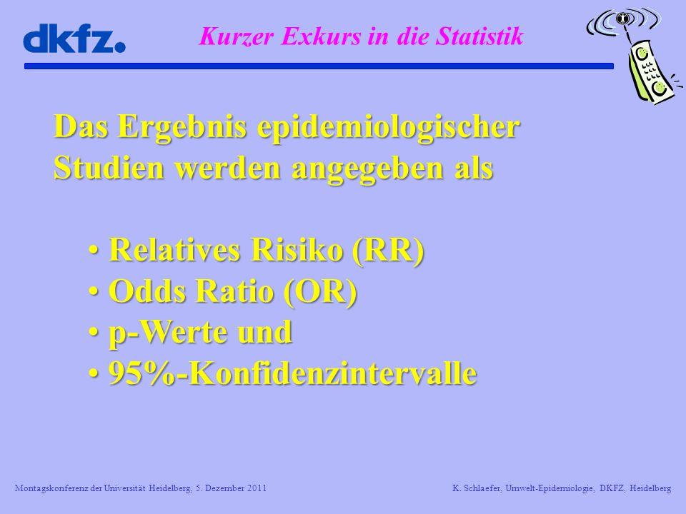 Montagskonferenz der Universität Heidelberg, 5. Dezember 2011K. Schlaefer, Umwelt-Epidemiologie, DKFZ, Heidelberg Kurzer Exkurs in die Statistik Das E