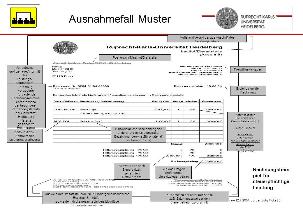 Einführung einheitliche Rechnungsformulare 12.7.2004, Jürgen Jülg, Folie 28 Ausnahmefall Muster Vollständige und genaue Anschrift des Leistungs- empfä