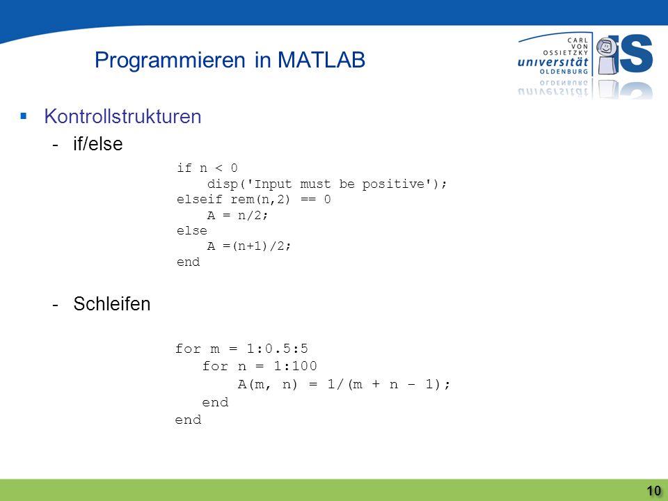 Kontrollstrukturen -if/else -Schleifen Programmieren in MATLAB 10 if n < 0 disp('Input must be positive'); elseif rem(n,2) == 0 A = n/2; else A =(n+1)