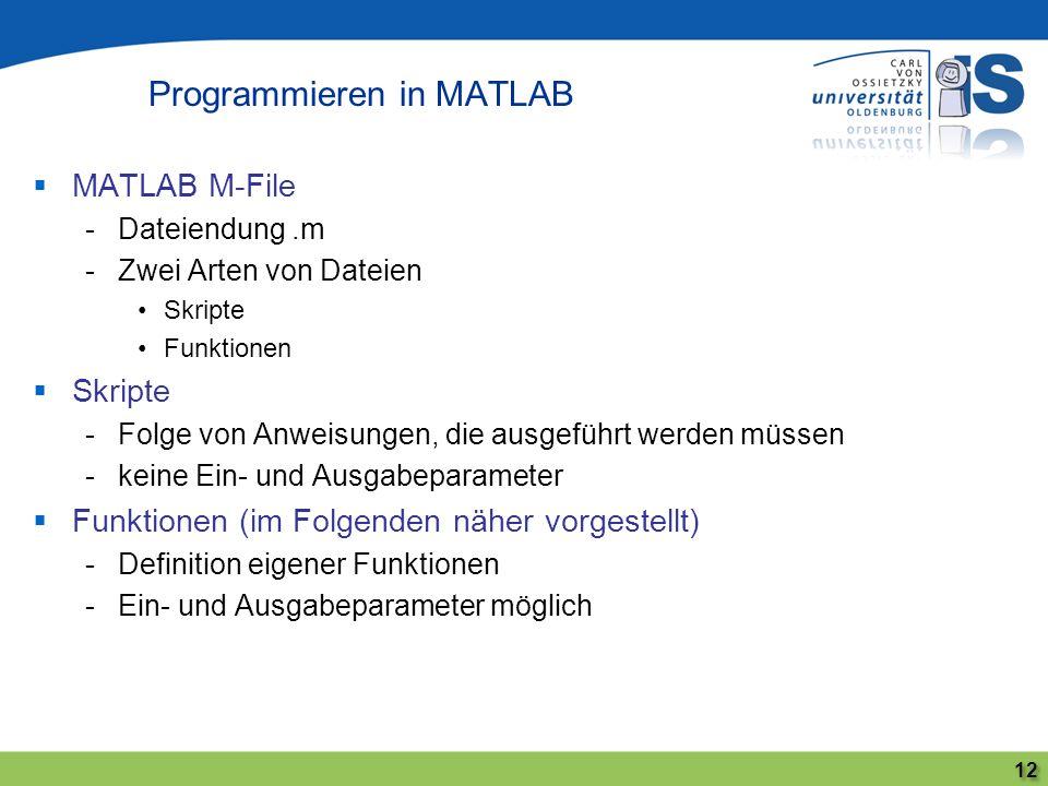 MATLAB M-File -Dateiendung.m -Zwei Arten von Dateien Skripte Funktionen Skripte -Folge von Anweisungen, die ausgeführt werden müssen -keine Ein- und A