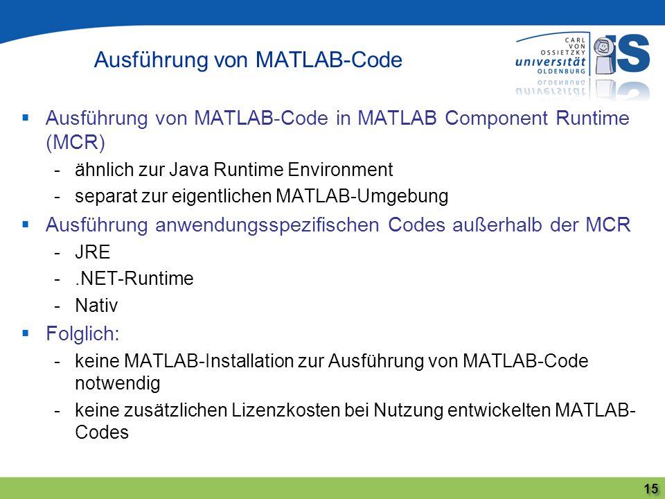 Ausführung von MATLAB-Code 15 Ausführung von MATLAB-Code in MATLAB Component Runtime (MCR) -ähnlich zur Java Runtime Environment -separat zur eigentli
