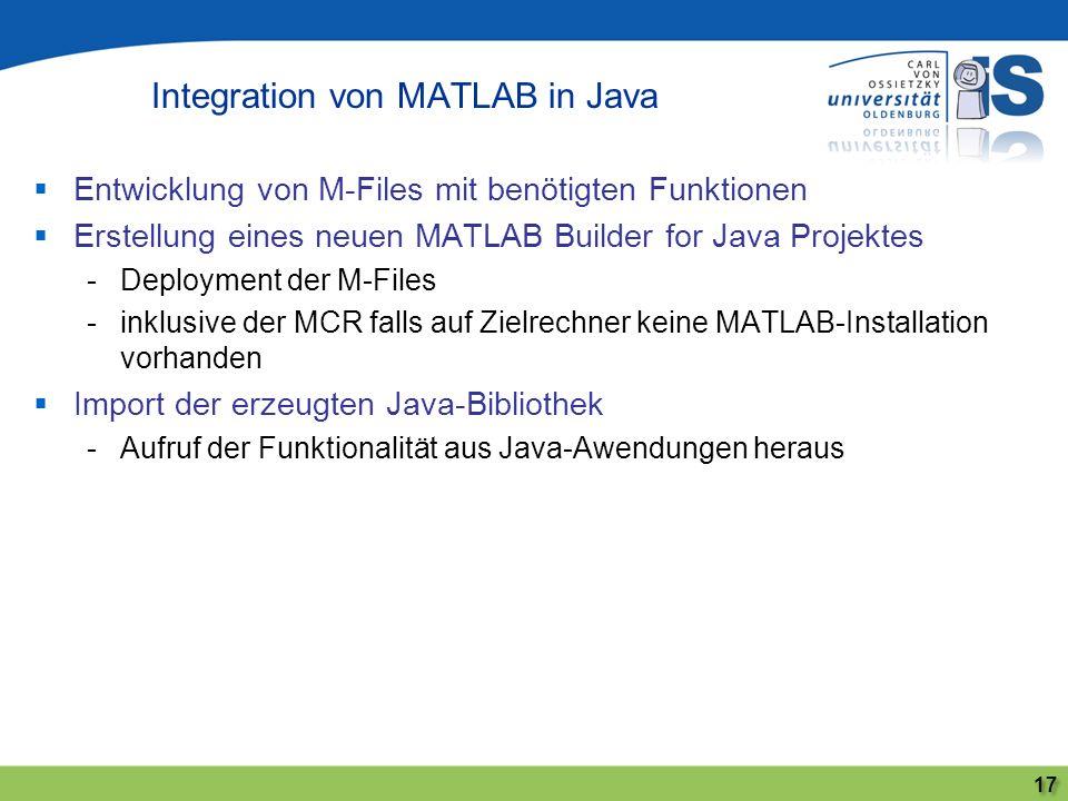 Entwicklung von M-Files mit benötigten Funktionen Erstellung eines neuen MATLAB Builder for Java Projektes -Deployment der M-Files -inklusive der MCR