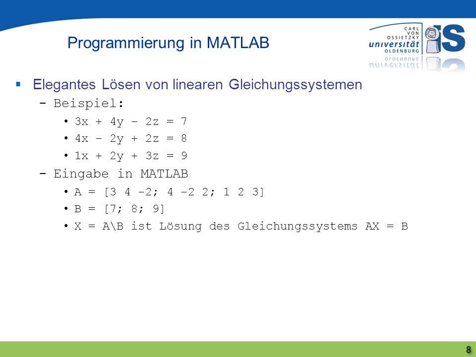 Elegantes Lösen von linearen Gleichungssystemen -Beispiel: 3x + 4y – 2z = 7 4x – 2y + 2z = 8 1x + 2y + 3z = 9 -Eingabe in MATLAB A = [3 4 -2; 4 -2 2;