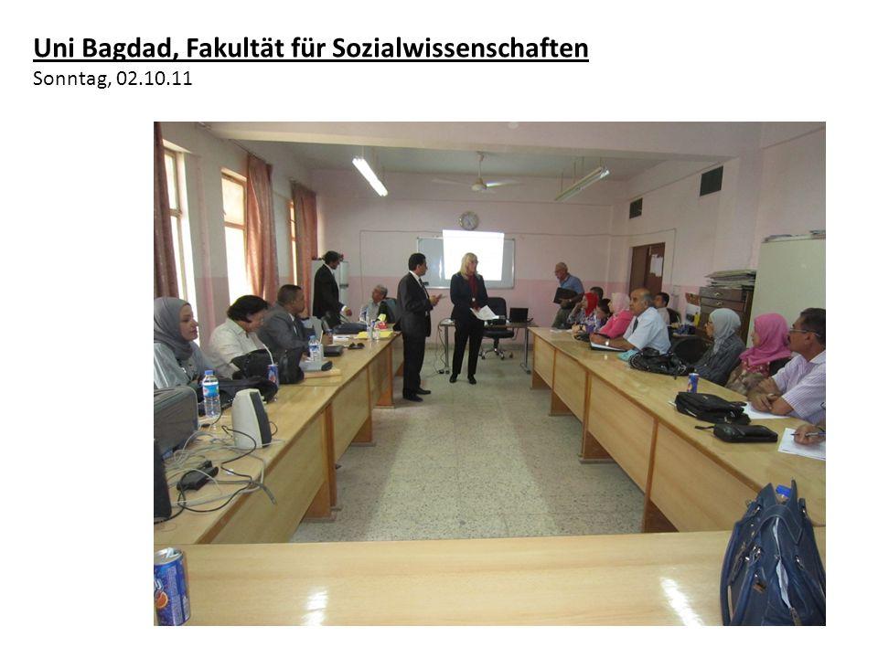 Abschlusskonferenz zur Bewertung des Besuchs mit allen beteiligten Fachleuten unter der Schirmherrschaft des Beraters des Ministerpräsidenten Herrn Hak Al- Hakim Freitag, 07.10.11