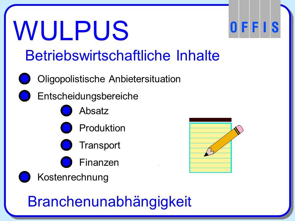 WULPUS Betriebswirtschaftliche Inhalte Oligopolistische Anbietersituation Entscheidungsbereiche Absatz Produktion Transport Finanzen Entscheidungsbereiche Kostenrechnung Branchenunabhängigkeit Kostenrechnung