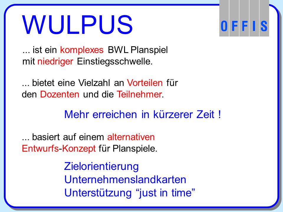 WULPUS... ist ein komplexes BWL Planspiel mit niedriger Einstiegsschwelle....