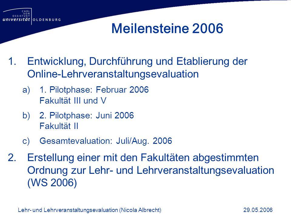 1.Entwicklung, Durchführung und Etablierung der Online-Lehrveranstaltungsevaluation a)1. Pilotphase: Februar 2006 Fakultät III und V b)2. Pilotphase: