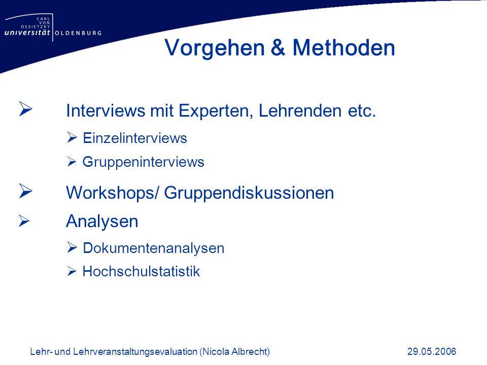 Interviews mit Experten, Lehrenden etc. Einzelinterviews Gruppeninterviews Workshops/ Gruppendiskussionen Analysen Dokumentenanalysen Hochschulstatist