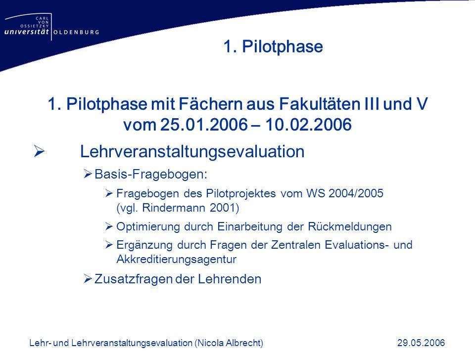 1. Pilotphase mit Fächern aus Fakultäten III und V vom 25.01.2006 – 10.02.2006 Lehrveranstaltungsevaluation Basis-Fragebogen: Fragebogen des Pilotproj