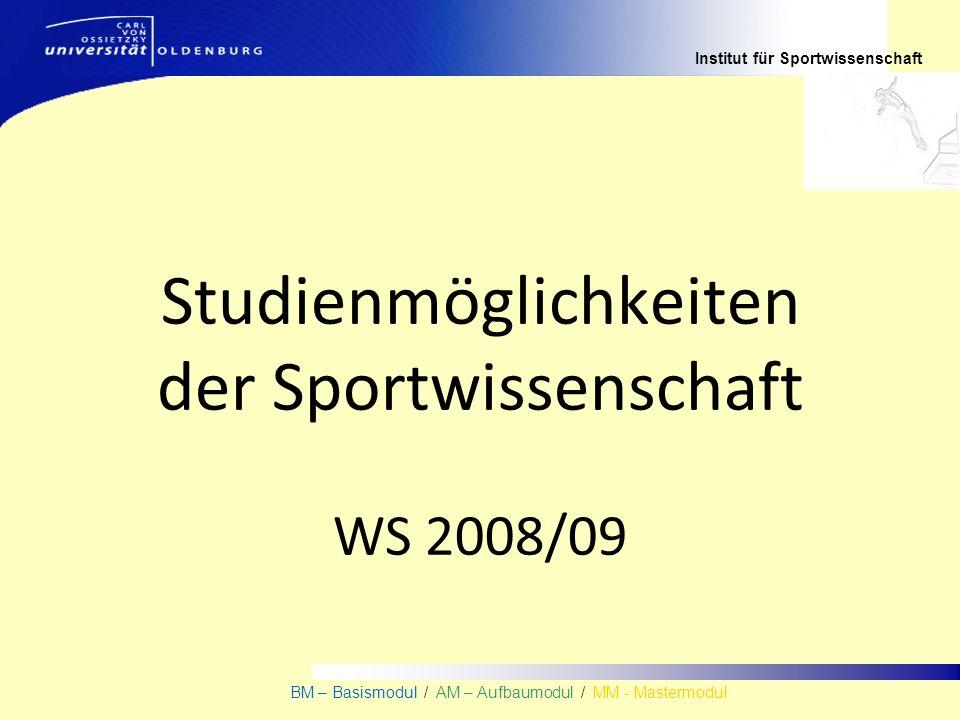 Institut für Sportwissenschaft BM – Basismodul / AM – Aufbaumodul / MM - Mastermodul Studienmöglichkeiten der Sportwissenschaft WS 2008/09