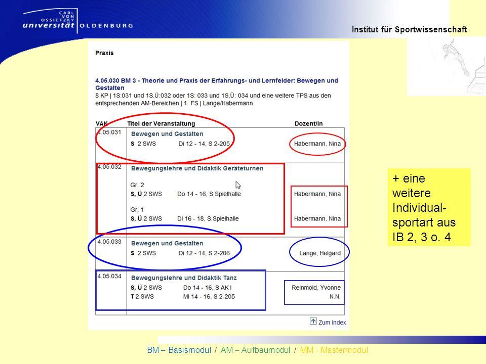Institut für Sportwissenschaft BM – Basismodul / AM – Aufbaumodul / MM - Mastermodul + eine weitere Individual- sportart aus IB 2, 3 o. 4