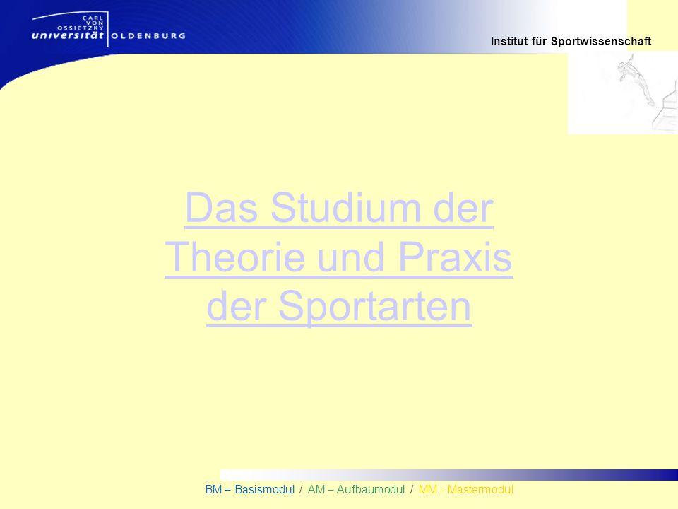 Institut für Sportwissenschaft BM – Basismodul / AM – Aufbaumodul / MM - Mastermodul Das Studium der Theorie und Praxis der Sportarten