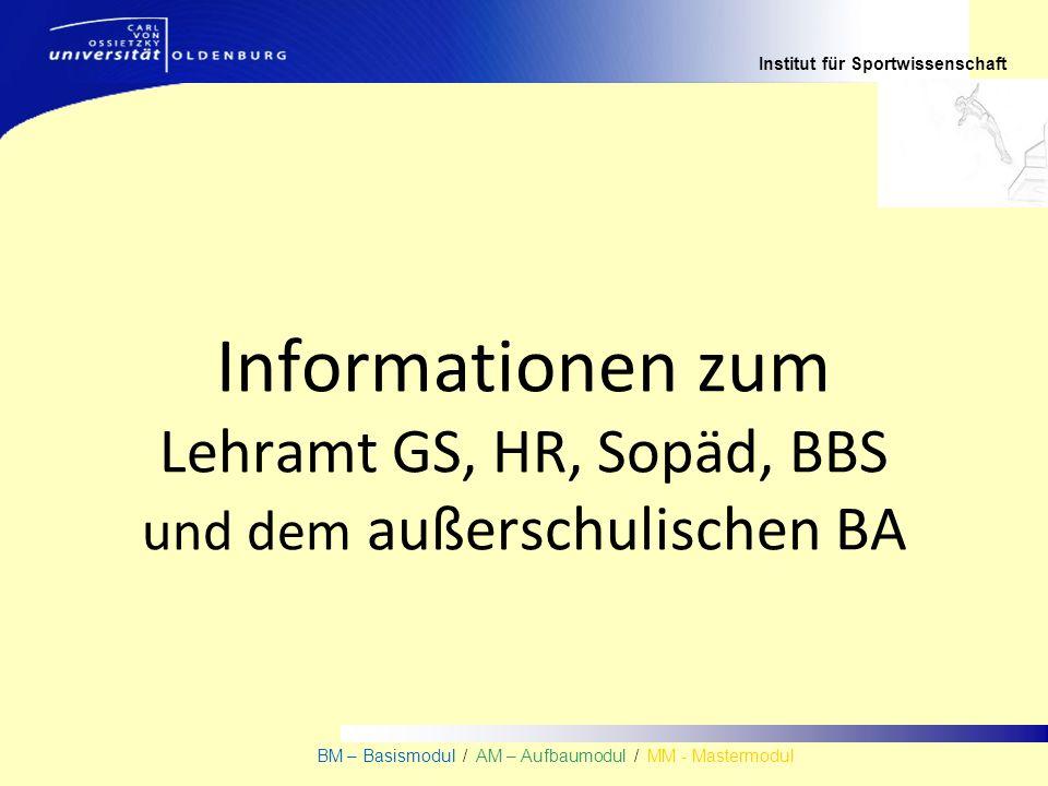 Institut für Sportwissenschaft BM – Basismodul / AM – Aufbaumodul / MM - Mastermodul Informationen zum Lehramt GS, HR, Sopäd, BBS und dem außerschulis