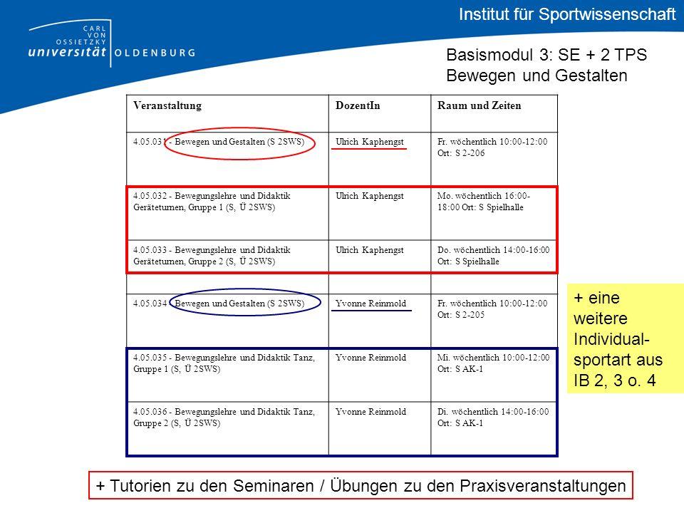 + eine weitere Individual- sportart aus IB 2, 3 o. 4 Institut für Sportwissenschaft Basismodul 3: SE + 2 TPS Bewegen und Gestalten VeranstaltungDozent