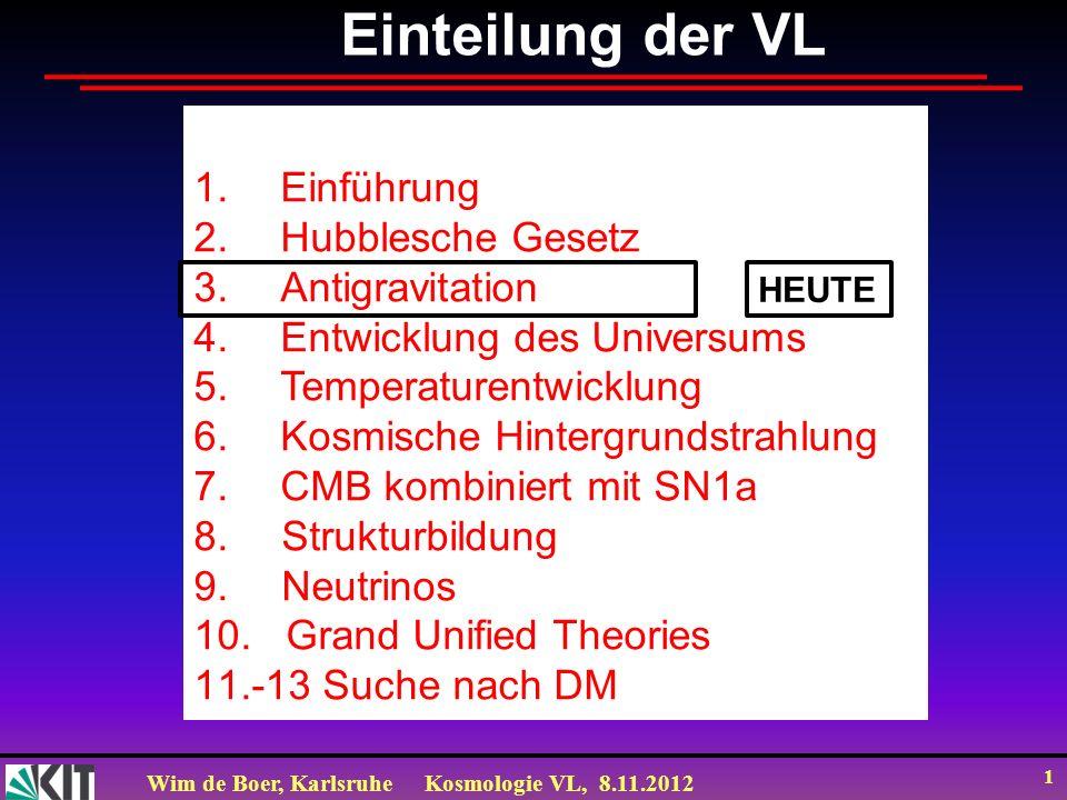 Wim de Boer, KarlsruheKosmologie VL, 8.11.2012 1 Einteilung der VL 1.Einführung 2.Hubblesche Gesetz 3.Antigravitation 4.Entwicklung des Universums 5.T