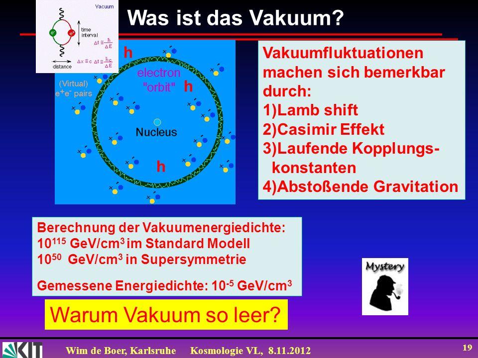 Wim de Boer, KarlsruheKosmologie VL, 8.11.2012 19 Warum Vakuum so leer? Was ist das Vakuum? Vakuumfluktuationen machen sich bemerkbar durch: 1)Lamb sh