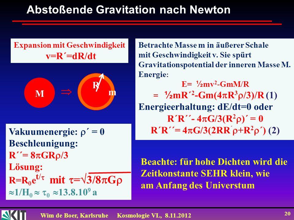 Wim de Boer, KarlsruheKosmologie VL, 8.11.2012 20 Abstoßende Gravitation nach Newton Expansion mit Geschwindigkeit v=R´=dR/dt Betrachte Masse m in äuß