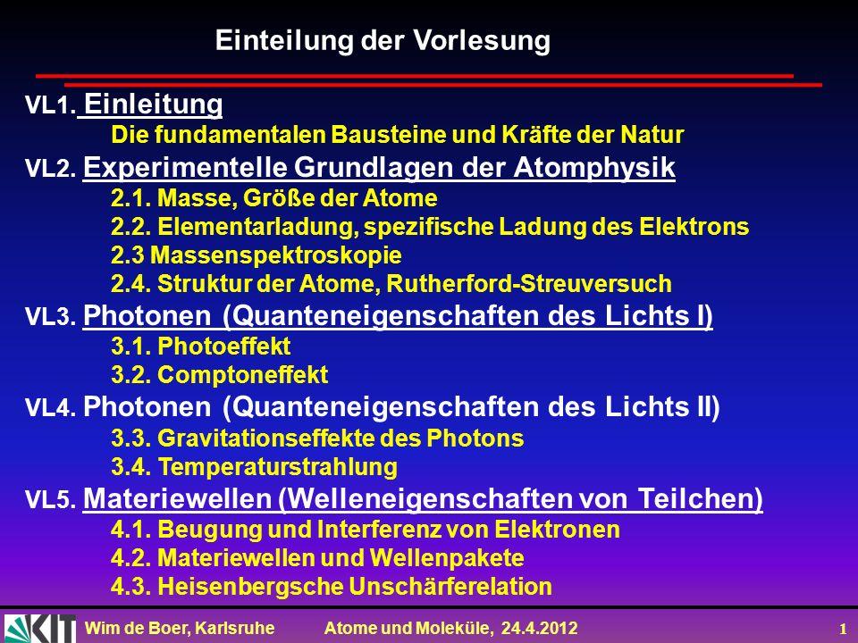 Wim de Boer, Karlsruhe Atome und Moleküle, 24.4.2012 1 VL1. Einleitung Die fundamentalen Bausteine und Kräfte der Natur VL2. Experimentelle Grundlagen