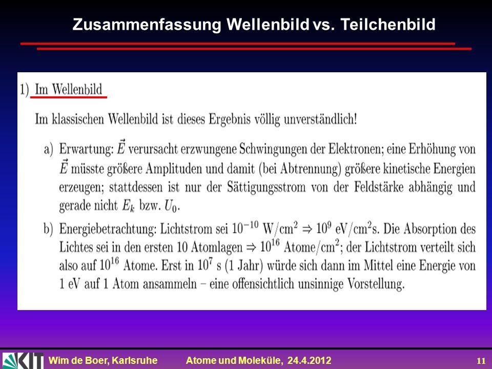 Wim de Boer, Karlsruhe Atome und Moleküle, 24.4.2012 11 Zusammenfassung Wellenbild vs. Teilchenbild