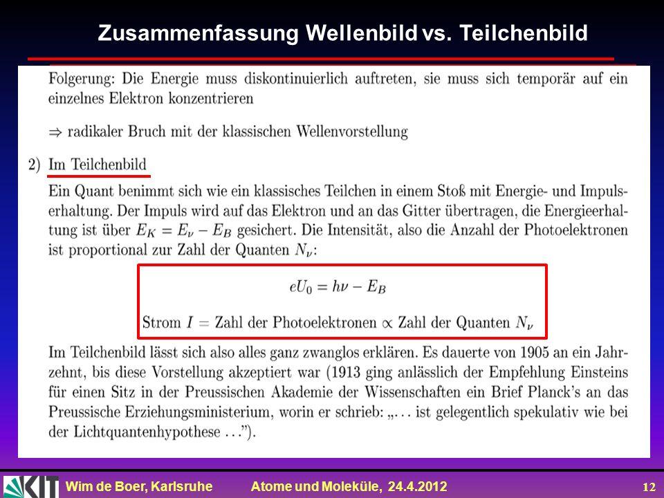 Wim de Boer, Karlsruhe Atome und Moleküle, 24.4.2012 12 Zusammenfassung Wellenbild vs. Teilchenbild