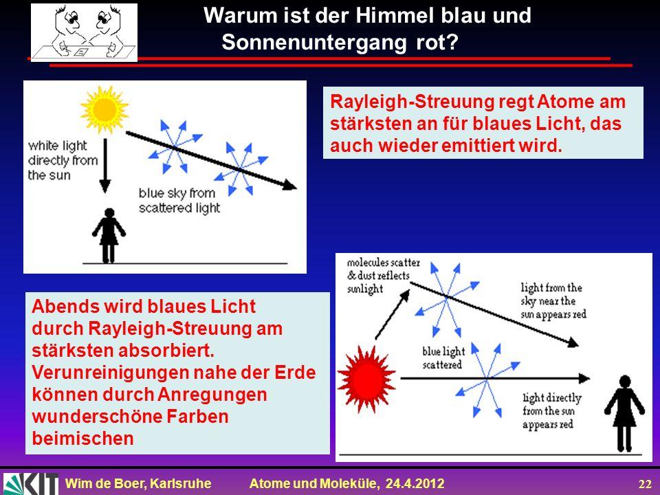 Wim de Boer, Karlsruhe Atome und Moleküle, 24.4.2012 22 Warum ist der Himmel blau und Sonnenuntergang rot? Rayleigh-Streuung regt Atome am stärksten a