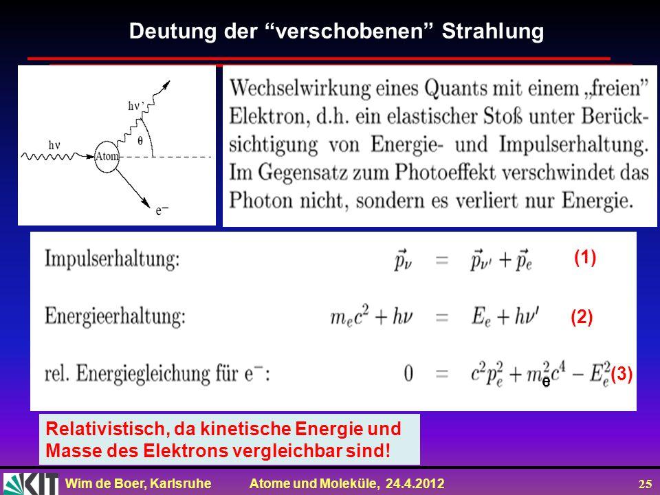 Wim de Boer, Karlsruhe Atome und Moleküle, 24.4.2012 25 Deutung der verschobenen Strahlung Relativistisch, da kinetische Energie und Masse des Elektro